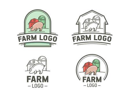 cerdos: Conjunto de icono de la granja en el estilo plano y lineal. Emblema de la vendimia con el cerdo.