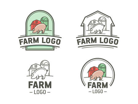 emblems: Set of farm icon in flat and linear style. Vintage emblem with pig. Illustration