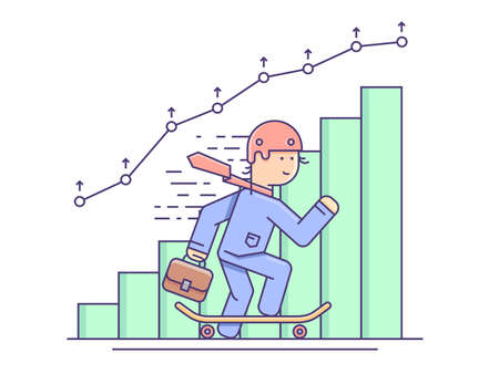 Business growth flat concept. Graph progress and graphic chart, vector illustration