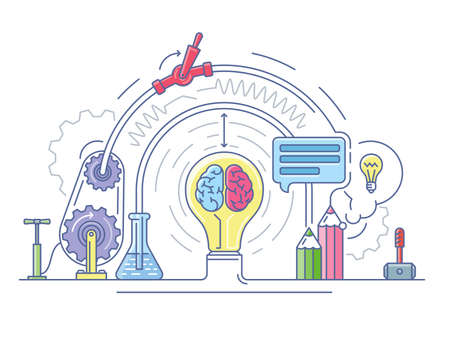 scientific research: Ideas laboratory abstract. Education and research, scientific lab, vector illustration