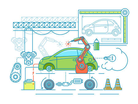 car factory: Vehicle assembling flat design. Car manufacturing, build according to the drawing. Vector illustration