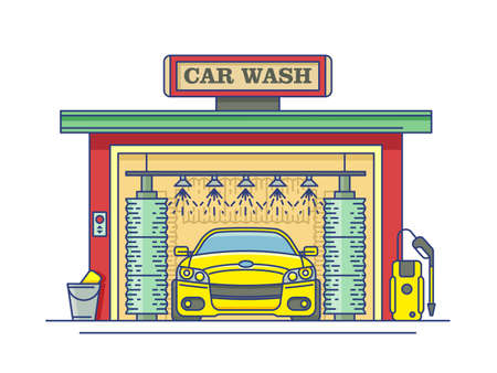 Car wash station. Service auto clean, garage and transport.