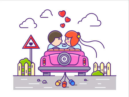 Love concept flat. Newlyweds kissing in car with cans. Illustration
