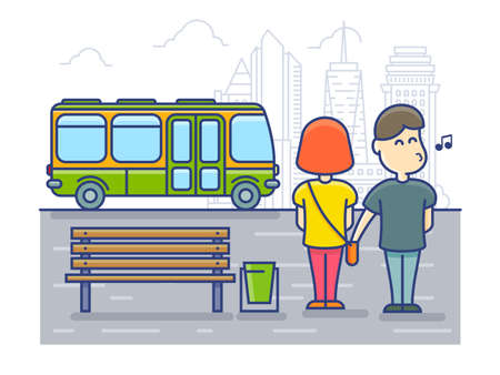 pickpocket: Pickpocket steals money cash from bag, Robbery at the bus stop. Illustration