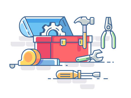 Open box with tools. Pliers and hammer, screwdriver and roulette. Stock Illustratie