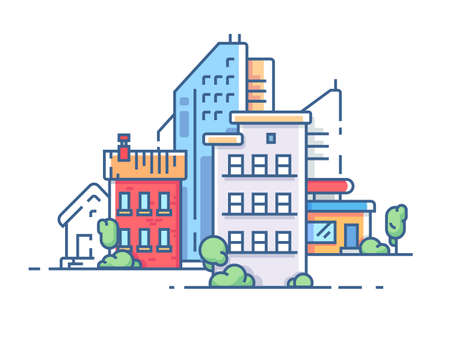 exterior element: City with high buildings for housing. Color apartment house. Vector illustration