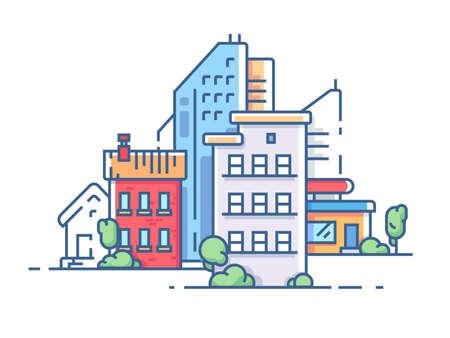 Stadt mit hohen Gebäuden für den Wohnungsbau. Farbe Mehrfamilienhaus. Vektor-Illustration