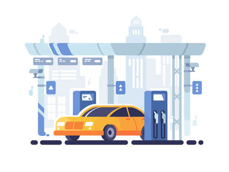 illustration industry: Car fueled at gas station. Fuel industry for machines. Vector illustration Illustration
