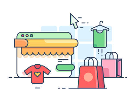 Online shopping flat. Buy things on web site. Vector illustration Illustration