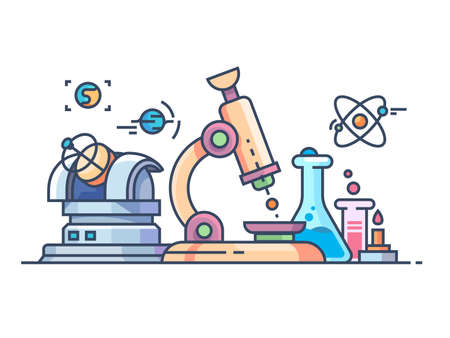 Science and research. Chemistry biology, physics and astronomy. Vector illustration