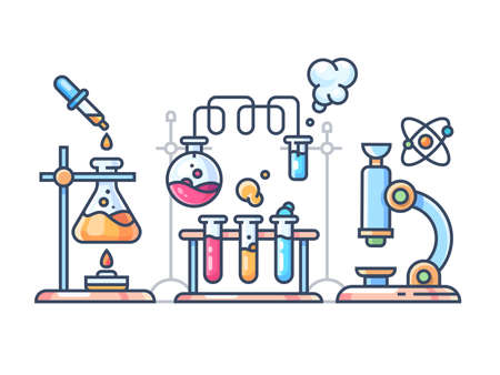 Chemical scientific experiment. Beakers and test tubes for laboratory. Vector illustration Ilustração