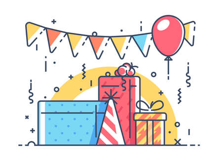 Gifts for holiday with balloon. Illustration