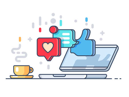 Likes and comments on social network. Laptop and cup with coffee. Vector illustration Illustration