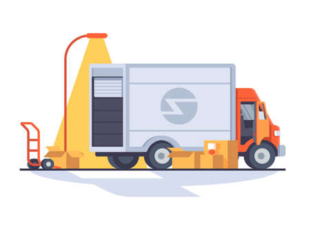 Fast express delivery. Van for transporting cargo. Vector flat illustration