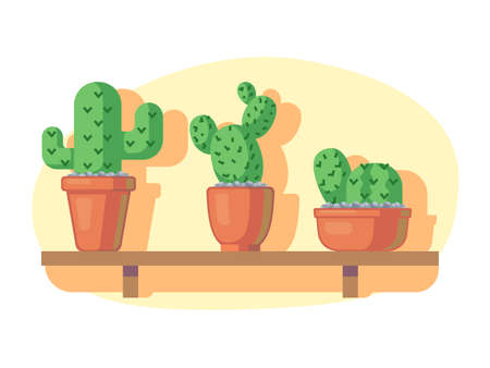 Cacti on wooden shelf in colorful, cartoon illustration