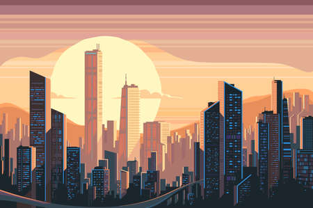 Sunrise landscape in city with tall skyscrapers. Vector flat illustration