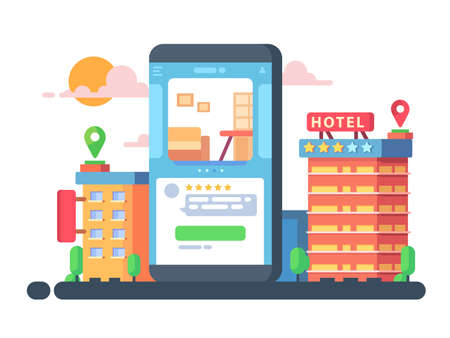 Smartphone application for hotel or apartment booking. Vector flat illustration