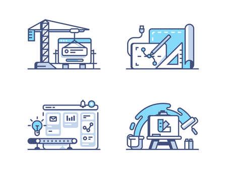 그래픽 및 웹 디자인. 그리기 및 프로그래밍 인터페이스. 픽셀 완벽한 256px, 벡터 선 아이콘, 일러스트 레이션