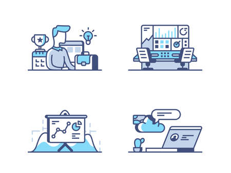 Business management. Organization of work process. Pixel perfect 256px, vector line icons, illustrations