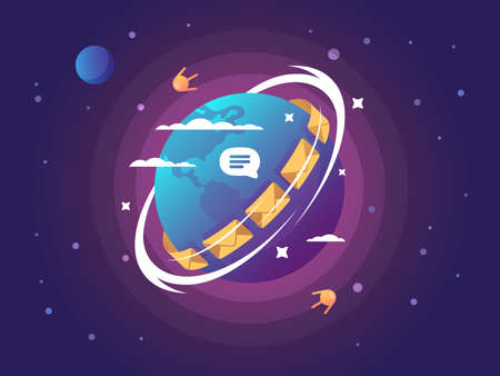 Technology of global connection and communication. Sending mail and message to satellite. Vector illustration