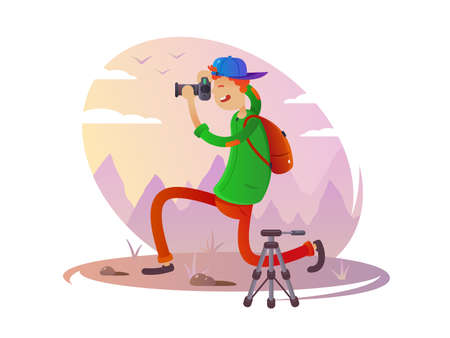 Guy with camera taking pictures Illustration