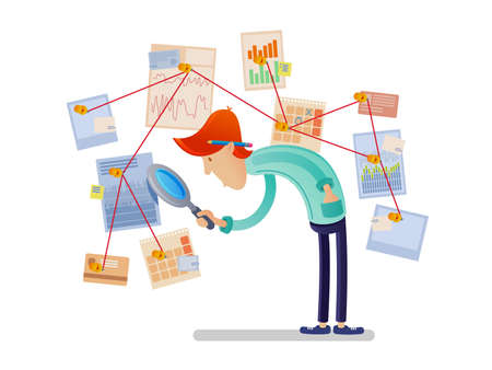 Financial analyst with magnifying glass. Man looking at charts and diagrams. Vector illustration Illustration