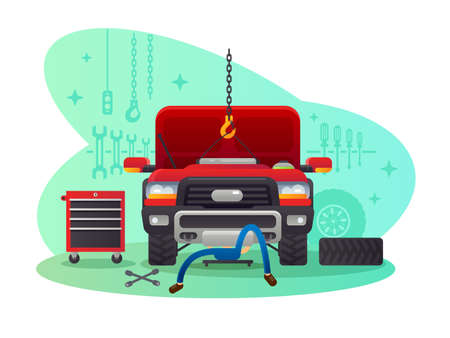 Car service, garage and workshop. Mechanic repairing auto. Vector illustration