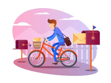Postino in bicicletta consegna lettere