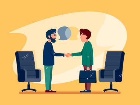 Business conversation at meeting with two men closing a deal. Illustration
