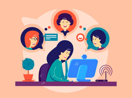 Girl remotely communicating with friends vector illustration