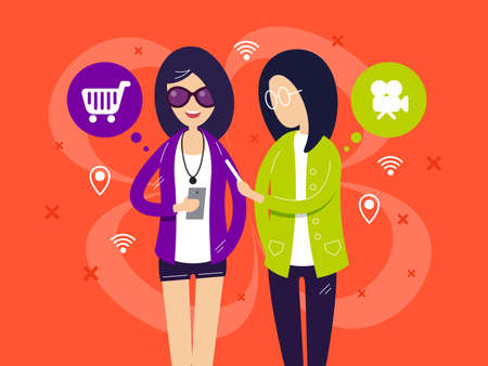Fashionable girls with smartphones. Girlfriends talk about movies and shopping . Vector illustration