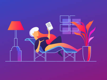 Cute girl lies on couch with tablet. Rest with book. Vector illustration