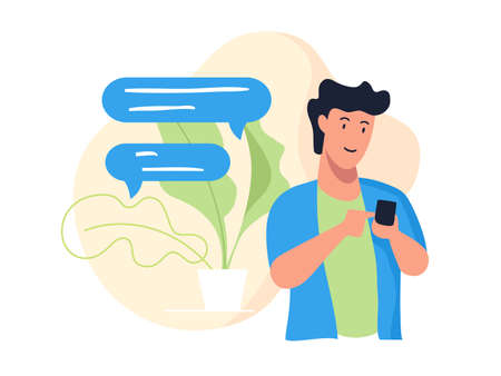 Cartoon illustration of a Guy  holding a phone with a chat symbol and a plant design in the background