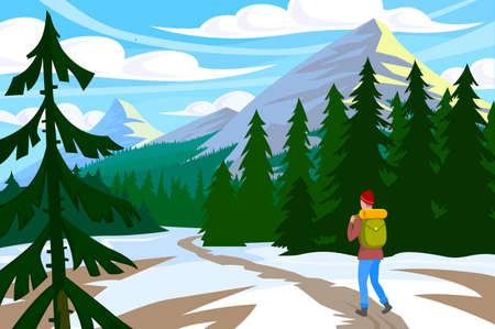 Traveler walk in mountain