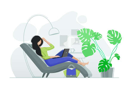 Young girl resting in chair with laptop Vector illustration
