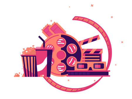 Walk to cinema with soda and popcorn. Cinematograph industry, vector illustration Illustration