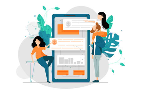 Co-working with smartphone. Search partners for joint work. Vector illustration.