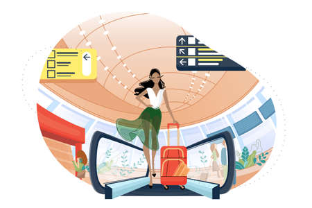 Cute girl with luggage at airport. Woman flies away to rest. Vector illustration