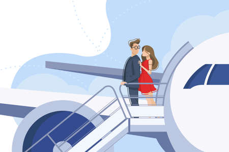 Couple guy and girl go downstairs from plane. Vector illustration