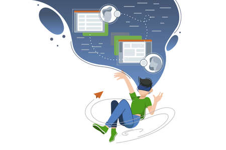 Guy hovers in cloud of virtual world. Internet and social networks. Vector illustration Illustration