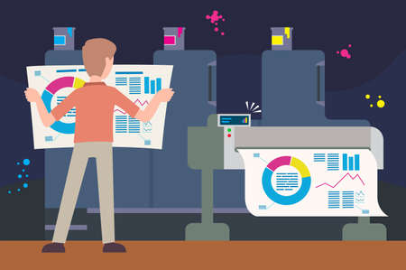 Man printing a graph on a printer