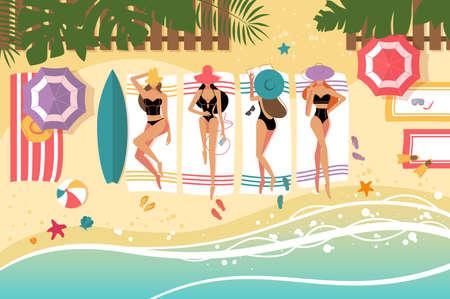 Cute girls sunbathing on beach Illustration