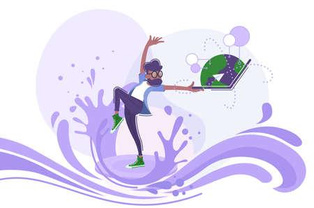 Man in information stream Illustration