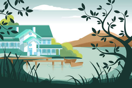 Country house on river bank
