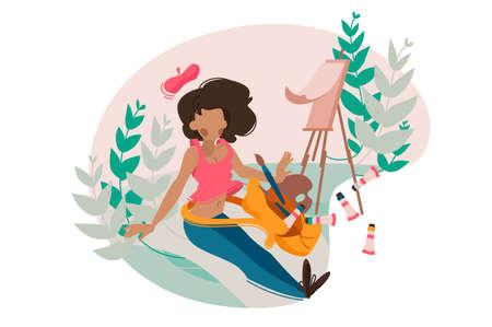 Girl painter paints tassel on easel