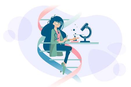 Woman doctor examines DNA microscope