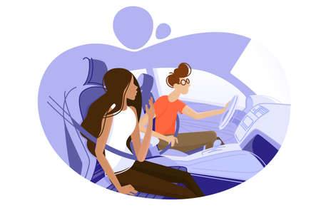 Guy and girl driving in car Illustration