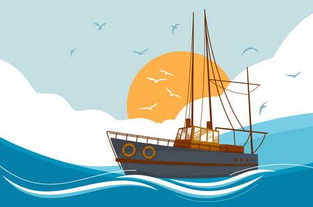 Boat floating in sea