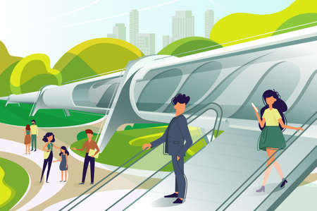 Hyperloop station with people Illustration