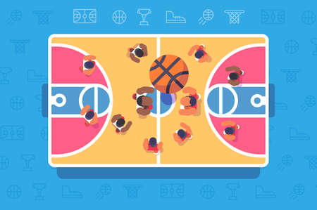 Basketball match top view. Team plays with ball in competition. Vector illustration